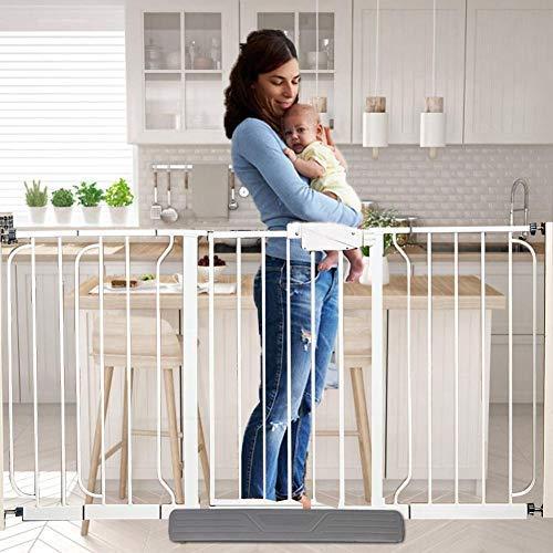 SunniY Puerta de seguridad para niños, para escaleras, extensible puerta de bebé con puerta para mascotas, rejilla de protección para la puerta para sujetar, para mascotas, gris