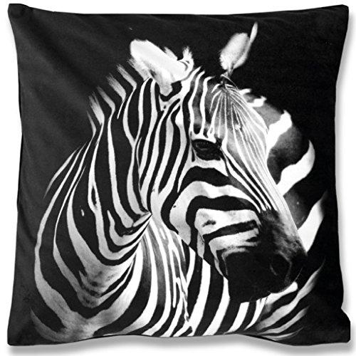Bestlivings 2er Set Kissenbezug Fotodruck Motiv in 40x40 cm, Flauschig weiche Kissen-Hülle Doppelpack, viele Motive erhältlich (Design: Zebra)