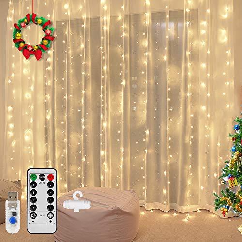 Vegena LED Lichtervorhang 300 LEDs,3m x 3m LED USB Lichterkettenvorhang 8 Modi Wasserfall Lichterketten Vorhang für Partydekoration Schlafzimmer Weihnachten Innenbeleuchtung Deko Warmweiß (Warmweiß)
