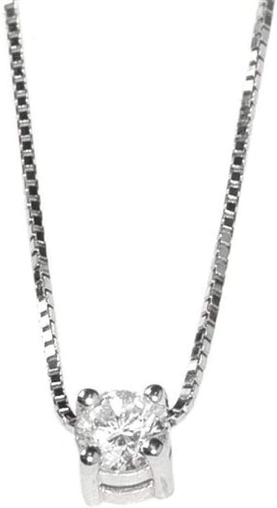 Chimento,girocollo per donna,in oro bianco 18 kt(2,4gr),impreziosito da 1 diamante centrale 0,25 1G230252G5450
