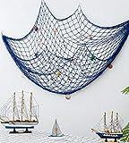 Old Tjikko Fischernetz Deko,Maritime Deko,Mediterranen Stil Fischerei Dekorative mit Farbigen Muscheln,Netz Schlafzimmer Wohnzimmer Wand Bar Party Decor Fotografie,Circa 150 x 200 cm (Blau) - 9