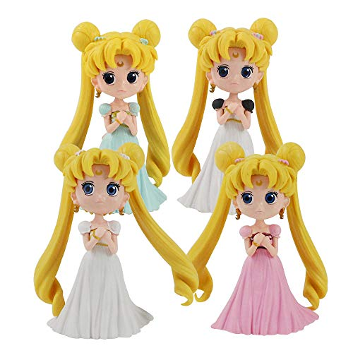 Guiping 13 cm 4 estilos de dibujos animados anime marinero luna tsukino princesa figura de acción coleccionable modelo juguetes muñeca regalos (color: 4 piezas)
