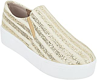 ESTATOS Etashee Sparkly Leather Broad Toe Comfortable Platform Heel Golden Sneakers for Women