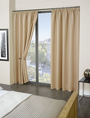 Luxury Thermal Supersoft Blackout Curtains Natural/Cream 66 x 90(168cm x 229cm) by Tony's Textiles
