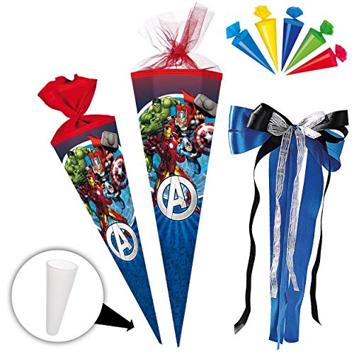 alles-meine.de GmbH Set _ Schultüte + 5 kleine Zuckertüten -  The Avengers - Assenble Avenger  - 85 cm - eckig - incl. große Schleife - Tüllabschluß - Zuckertüte - mit / ohne K..