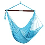 Bathonly Large Caribbean Hammock Hanging Chair, Durable Polyester Hanging Chair, Swing Chair w/Foldable Spreader Bar for Indoor/Outdoor Garden & Living Room - Aqua Blue