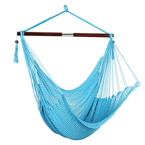 Bathonly Large Caribbean Hammock Hanging Chair Durable Polyester Hanging Chair, Swing Chair, with Wood Bar for Indoor/Outdoor Garden & Living Room
