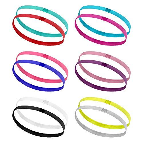 Hileyu Sportbanden, 12 stuks, antislip, elastisch, haarbanden voor vrouwen en mannen, elastisch, voor voetbal, basketbal, yoga, joggen, tennis