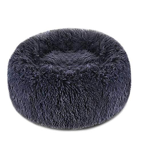 N-brand Cama para mascotas, cama redonda de felpa para perros, gatos, cálida y cómoda en invierno, mejor amigo de cachorros y perros grandes, varios tamaños (15.5-39.5 pulgadas gris oscuro)