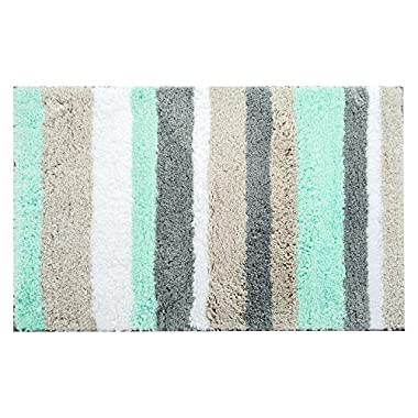 HEBE Non-slip Microfiber Bath Rugs Soft Shag Bath Mats for Bathroom Machine Washable Water Absorbent Bathroom Rugs(20 x32 , Blue/Grey)