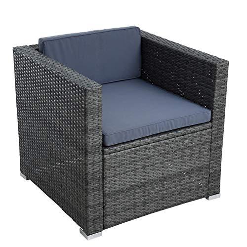 ESTEXO Polyrattan Gartensessel Loungesessel Rattan Lounge Sessel Gartenstuhl Stuhl (Anthrazit-Grau)