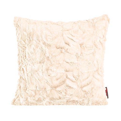 MAGMA Fluffy Kissenhülle ca. 50x50 cm kuschelweicher Kissenbezug Dekokissen in Felloptik Farbe: Beige