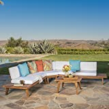 Christopher Knight Home 302608 Highpoint Outdoor 4 Piece Sofa Set, Sandblast Finish + White