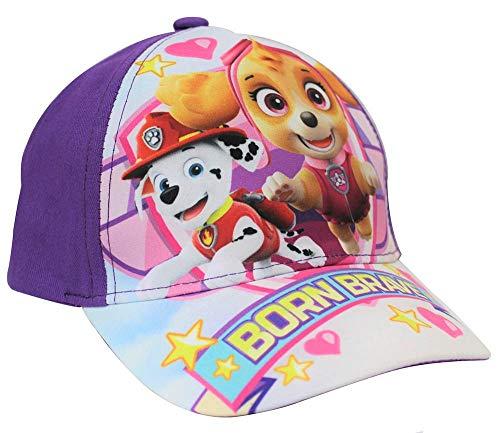 Paw Patrol Kappe Born Brave mit den Welpen Skye und Everest, Kappy, Baseballcap, Schirmmütze für Kinder mit Hundemotiv (52, Lila)