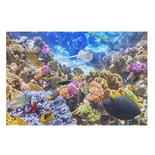 1000pcs Wooden 3D Underwater Fish DIY Jigsaw Puzzles,Decompressing Game Toys Puzzle Toy -Oceanscape for Family Entertainment white 500pieces