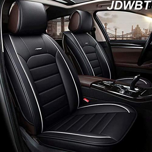 JDWBT Autositzbezüge, 5-Sitzer-Komplettsatz Universal-kompatible Airbags vorne und hinten atmungsaktiv hochwertiges Leder Comfort Protector Cushion (Farbe : Schwarz)