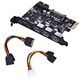 YEELIYA PCI-E to Type C (2),Type A (3) USB 3.0 5-Port PCI Express Expansion Card +Expanding 2 USB 3.0 Ports with Internal 19-Pin Connector for Window 7/8/10/XP/Vista