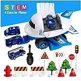 Sendida Transport Airplane Car Toys Cargo - STEM Construction Die Cast Car Toys Set DIY Plane for 3 4 5 Year Old Boys (Blue)