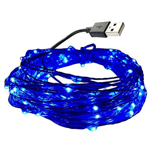 DZYDZR 10 m / 33 ft USB LED Lichterkette Kupferdraht 100 LEDs Wasserdicht Sternenlicht für Innen- und Außenbereich, Geburtstag, Hochzeit, Weihnachtsfeier (Blau)