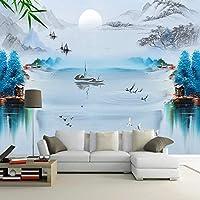 カスタム壁紙中国風インク風景鳥青抽象的な背景装飾的な絵画3D壁画-400x300cm