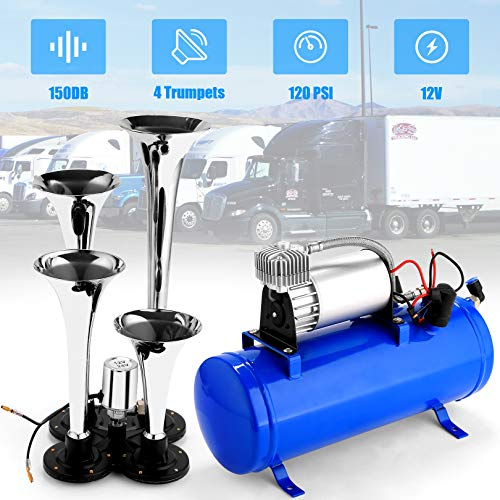 12V 150DB Car Air Horn Kit, 4 Trumpet Train Vehicle Air Horn with 120PSI Air Compressor for All Kinds of Vehicle, Truck, Car or SUV (Navy Blue)