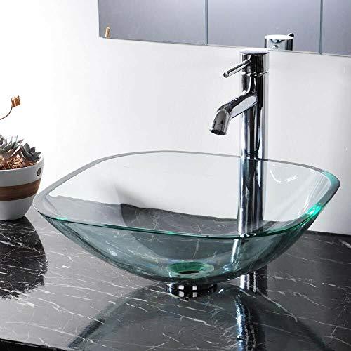 420mm lavabo moderno quadrato vetro temperato ciotola montato piano di lavoro bagno