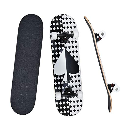 YUDOXN Completo Skateboard para Principiantes, Adolescentes, niños, niñas.31 x 8  Skateboard 7 Capas Monopatín de Madera de Arce con rodamientos ABEC-7 Tabla de Skateboard, Longboards
