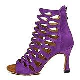 HROYL Botas de Baile Latino Mujer Zapatos de Baile de Salon,L455,Morado-6,EU38