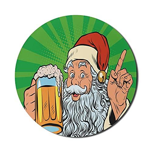 Man Cave Mouse Pad für Computer, Weihnachtsmann mit Bier Pop Art Retro Comic-Stil Feiertage Neujahr Weihnachten Zeit, Runde rutschfeste dicke Gummi Modern Gaming Mousepad, 8 'rund, mehrfarbig