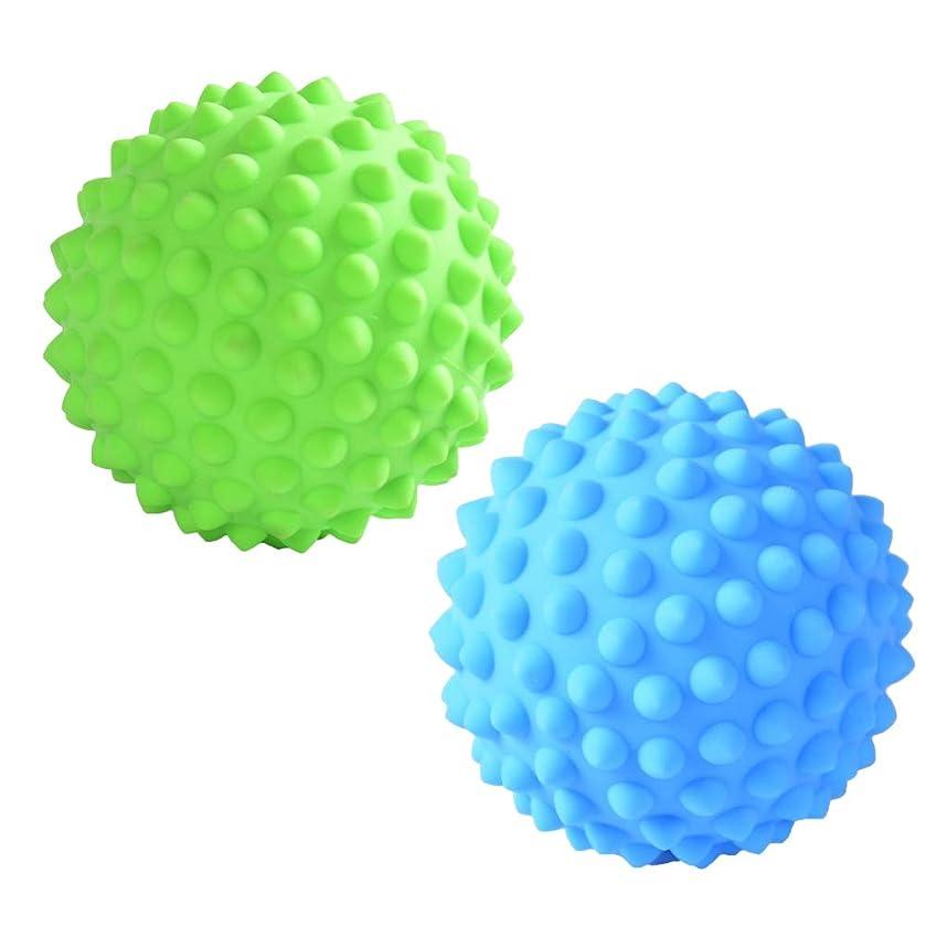暴徒保守的素敵なPrettyia マッサージローラーボール 指圧ボール PVC トリガーポイント 疲れ解消ボール ヨガ 疲労軽減 2個