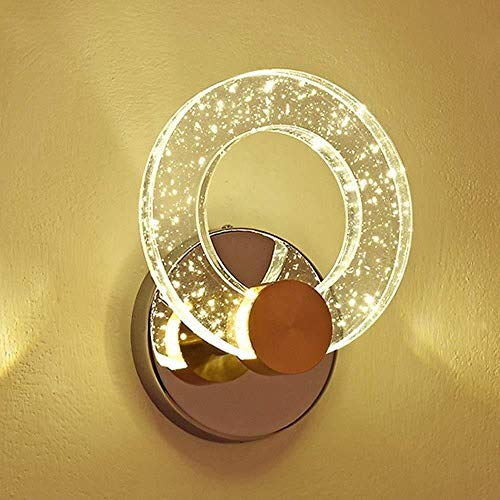 Sconce Wandlamp Heldere Crystal Bubble Hoofd Kolom Ronde Ring Wandlamp Moderne Minimalistische Persoonlijkheid Led Wandlamp Achtergrond Wandlamp 28,8 * 23 cm Wandlampen