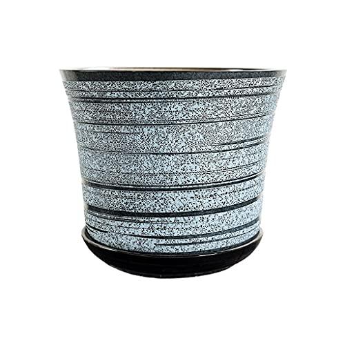 Macetero de cerámica para decoración del hogar, restaurante, oficina, macetas de flores chinas con bandeja de 4.72/6.10/7.6 pulgadas (tamaño: C)