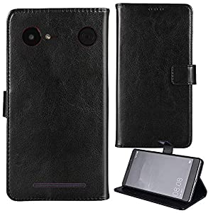 Lankashi Stand Premium Retro Business Flip Leather Case Protector Bumper For Doro 8035 Protection Phone Cover Skin Folio Book Card Slot Wallet Magnetic(Black)
