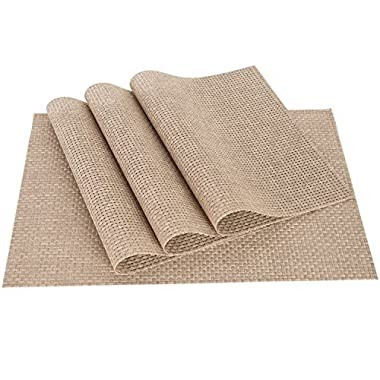 PVC Weave Placemats ,Zupro Dining Table Mat Anti-Slip,Heat Insulation PlaceMat,Set of 4, Six Color Available