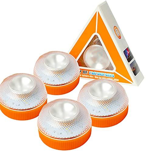 Luz de Emergencia,Luz LED de Advertencia para Coches vehículos con Linterna incluida para Carretera Señal V16 de Preseñalización de Peligro luz de avería,baliza de Emergencia Coche(4 pcs-sin batería)