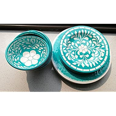 Dinnerware Set for 6-18pcs Melamine Dinner Plates Set, Service for 6, Green