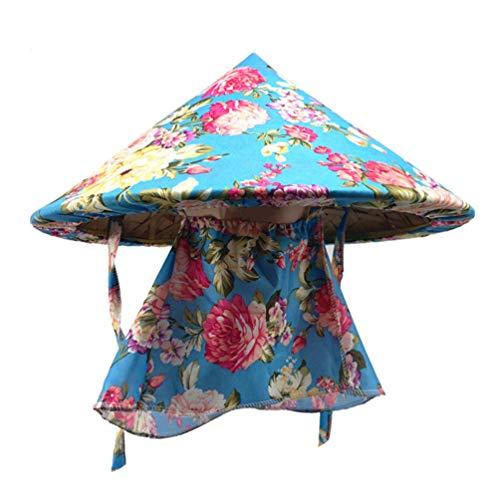 PRETYZOOM Angeln Kuli Hüte mit Hals Gesicht Klappe Bambus Hawaii-Stil Blumendruck Anti-UV Outdoor-Sonnenhut Sommer Bauer Hut Cosplay Party Kostüm