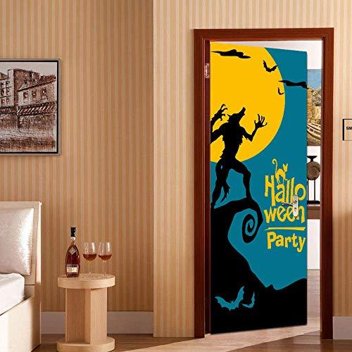 Türposter 3D Tür Aufkleber Halloween Mond Werwolf Bild, Diy Kunst Kreative Dekorative Tapete Poster Vinyl Aufkleber, Wasserdicht Abnehmbare 77X200 Cm