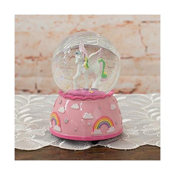 Elanze Designs Unicorn Rainbows on Pink Musical 80MM Water Globe Plays Tune The Unicorn 6