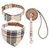 EXPAWLORER Bow Tie Dog Collar and Leash Set Classic Plaid Adjustable Dogs Bandana and Collars with Bell for Puppy Cats 3 PCS