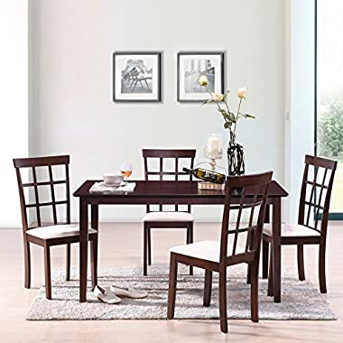 Harper&Bright Designs 5 Piece Dining Set Rubber Wood Construction 4 Person Dining Table Microsuede Upholstered Chairs (5 Piece)