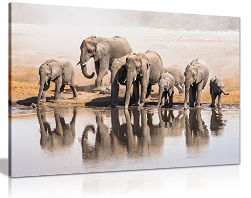 Family Of African Elephants Drinking At A Waterhole Canvas Wall Art Picture Print (24X16)
