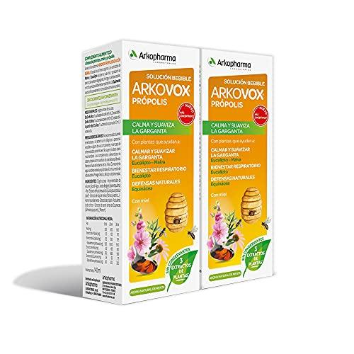 Arkopharma Arkovox Própolis Jarabe 140ML Pack x 2, Bienestar Respiratorio, Calma y Suaviza el Dolor...