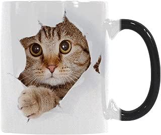 Heat Changing Mug, Caliamary Funny Cat Heat Changing Ceramic Coffee Mug, 11 oz Heat Sensitive Color Changing Coffee Mug Cup, Cute Xmas Gift Mug for Women Men Kids (Cat)