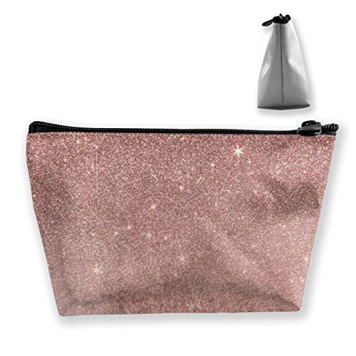 Girly Glam Trousse de maquillage en maille rose doré et paillettes