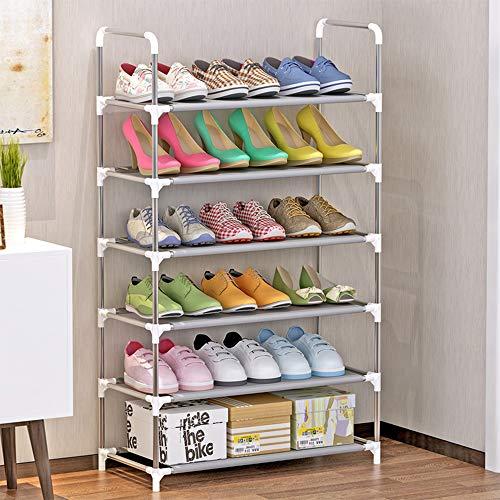 Luckly Plástico + Aluminio Estante de Zapatos, 6 Niveles, Capacidad para hasta 16 Pares de Zapatos, Ahorro Espacio/Estabilidad/Durable, para Zapatos, Botas, Zapatillas, 60×30×108cm,B