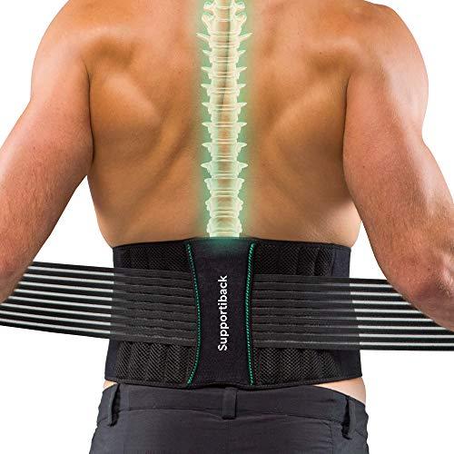 Cintura di supporto per la schiena per uomini e donne, brevettata, doppia fascia regolabile per sciatica/schiena/ernia del disco/scoliosi, sollievo dal dolore, supporto lombare, certificata CertiPUR