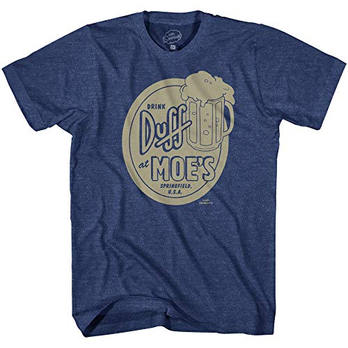 The Simpsons Drink Duff At Moes Tavern Adult T-Shirt(Navy Heather,Medium)