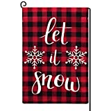 Lymoc Red Black Buffalo Snowflake Merry Christmas Garden Flag Vertical Double Sided Farmhouse Holiday Burlap Yard Outdoor Decor 12.5 x 18.5 Inches