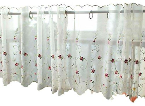 (ミコプエラ) Micopuella 全3色 レース カフェカーテン 小窓 カーテン 目隠し 110×丈45 ㎝ 2枚 セット 花 柄 刺繍 キッチン リビング (ホワイト小花)